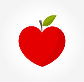 Heart shaped red apple. Vector illustration