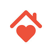Heart sign with roof, house with heart red icon, love home symbol, vector illustration isolated on white background