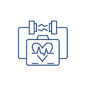 Heart stimulation line concept icon. Heart stimulation flat  vector website sign, outline symbol, illustration.