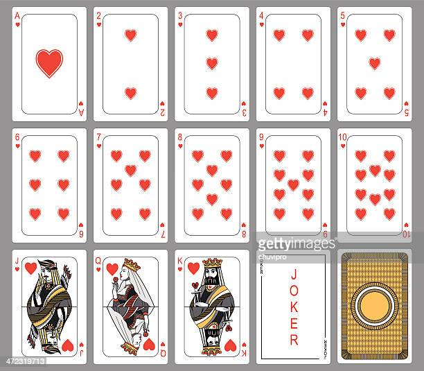 Heart suit playing cards