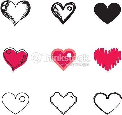 Ensemble dic nes symbole de c ur clipart vectoriel - Dessin de petit coeur ...