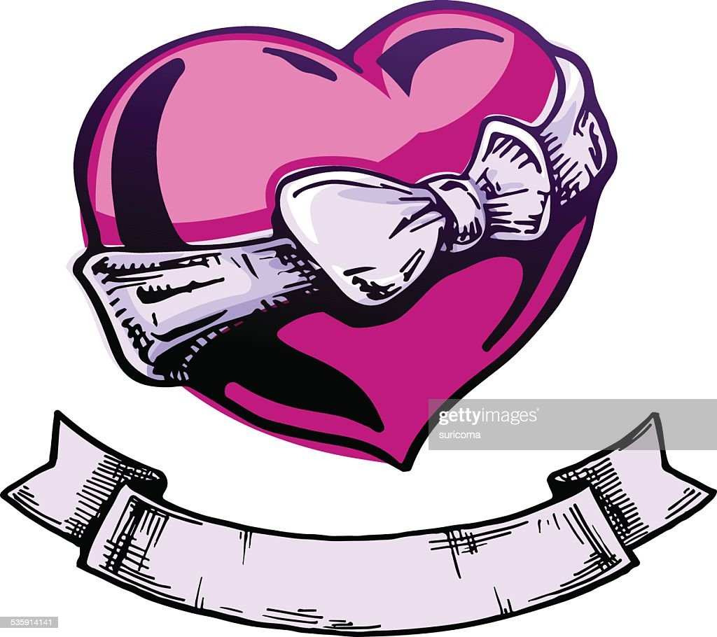 Tatuagem de coração. : Arte vetorial
