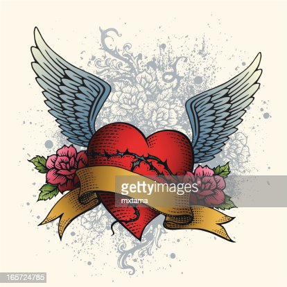 heart tattoo with wings roses and banner vector art