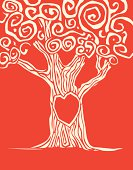 Woodcut style tree with heart carved into it.