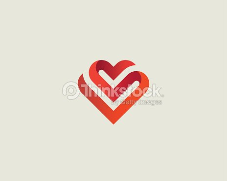 Heart Vector Symbol Valentines Day Ribbon Logotype Abstract Line