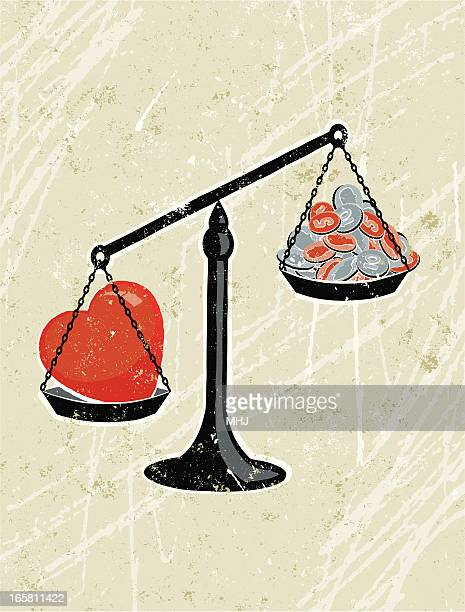 Heart Weighed on Scales against Money