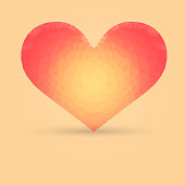 Single Heart with Polygonal Pattern Made in Warm Colors
