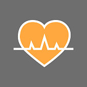 Heart With Pulse Beat Rate Icon Flat Vector Illustration