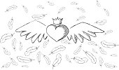 Heart with wings and feathers around. Roughly drawn by hand
