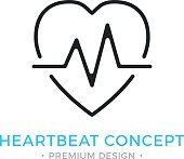 Heartbeat icon. Pulse, heart beat, healthcare, cardiology. Premium design. Vector thin line icon isolated on white background