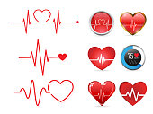 Heartbeat icon set and  electrocardiogram, heart rhythm concept, Vector Illustration