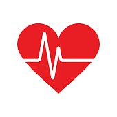 Heartbeat icon. Electrocardiogram, ecg or ekg isolated on white background