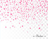 Hearts confetti isolated. Valentines vector illustration template.