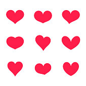 Hearts icons collection. Vector illustration