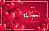 Pink Valentine's Day background with 3d hearts on red. Vector illustration. Cute love banner or greeting card