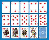 Playing cards hearts suite on a blue background. Original figures inspired by french tradition.