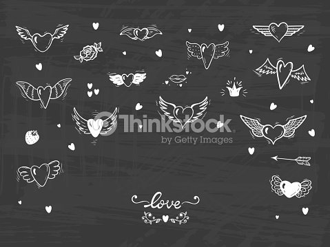 9b9b41d986649 Hearts with Wings for Valentines Day or Wedding greeting cards. Love Vector  Set. Beautiful Doodle Heart tattoo. Hand drawn illustration