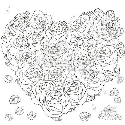 En Forma De Corazón Patrón Para Colorear Libro Con Rosas Arte ...