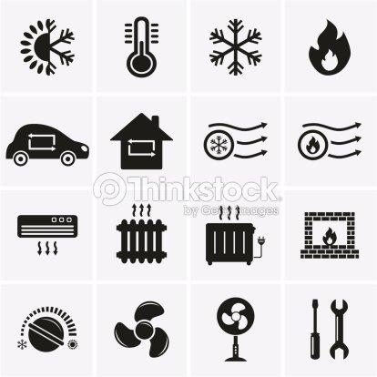 Heizung Und Kühlung Symbole Vektorgrafik | Thinkstock