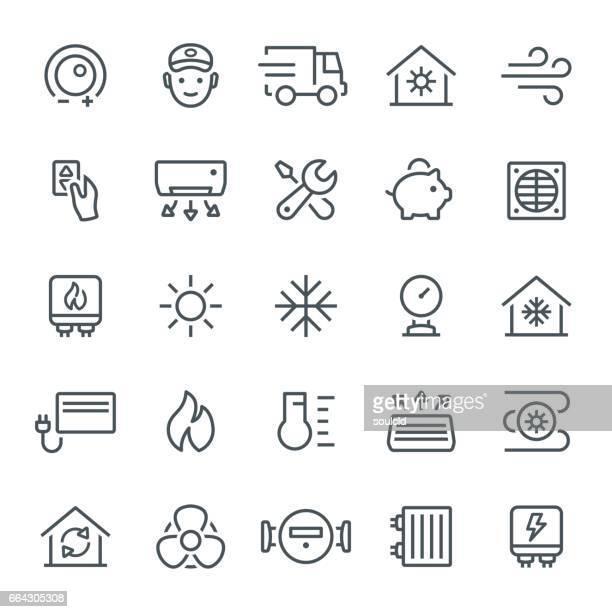 Uppvärmning och kylning ikoner