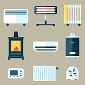 Vector set of various heating appliances. Flat style.