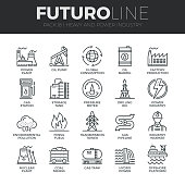 Modern thin line icons set of heavy industry, power plant, mining resources. Premium quality outline symbol collection. Simple mono linear pictogram pack. Stroke vector symbol concept for web graphics