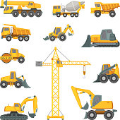 Heavy construction machines. Excavator, bulldozer and other technique. Vector illustrations in cartoon style. Bulldozer and digger equipment machine