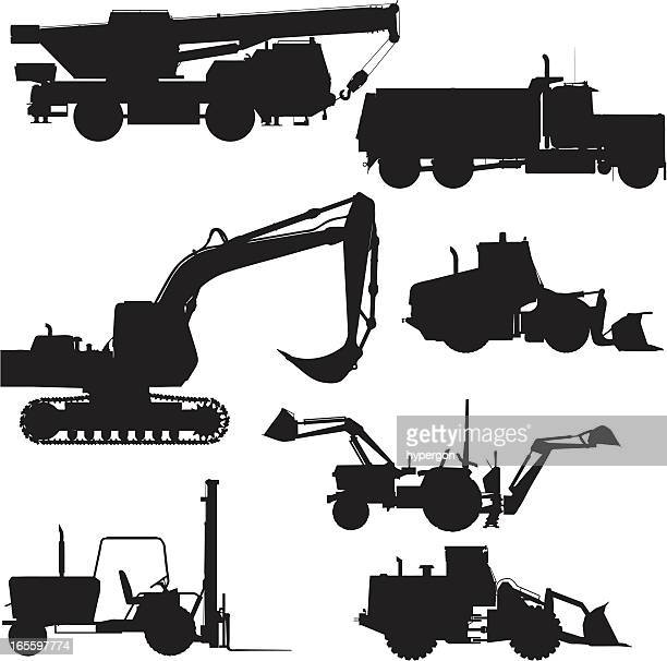 Heavy Equipment Silhouette : Bulldozer stock illustrations and cartoons getty images