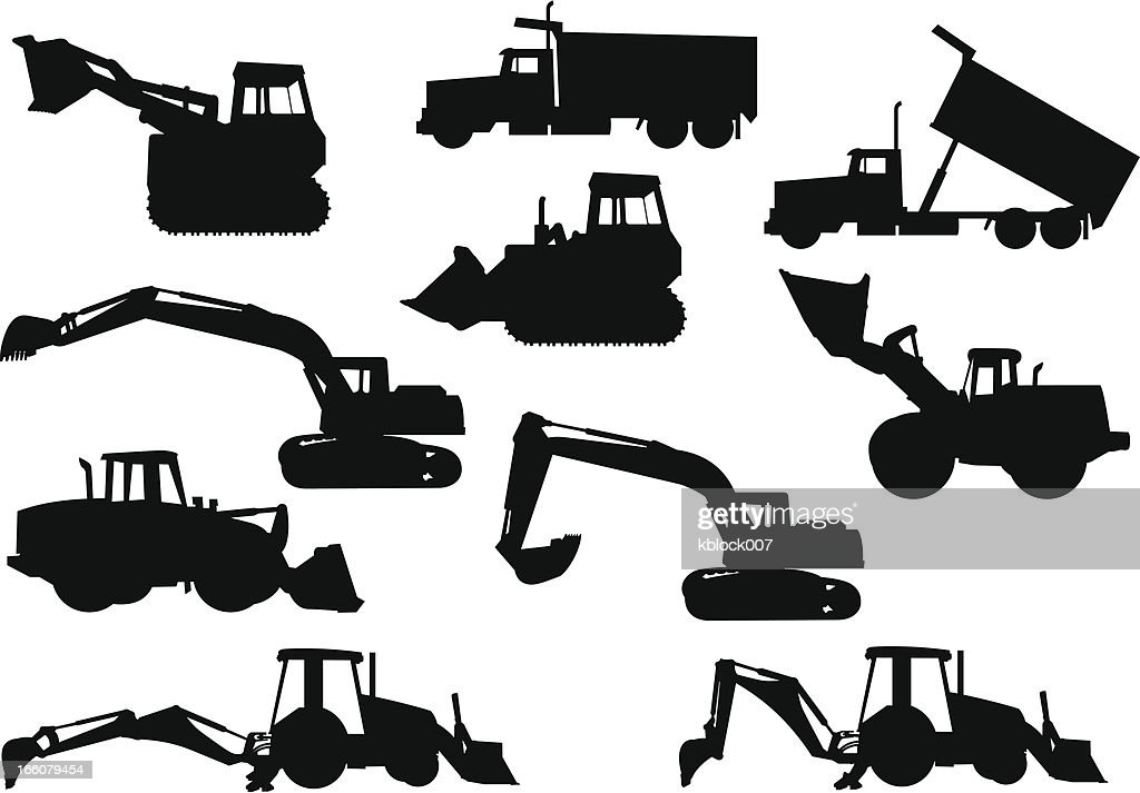 Heavy Equipment Silhouette : Heavy equipment silhouettes vector art getty images