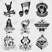 Vintage coal mining emblems, labels, badges, logos. Monochrome style heavy metal rock badges logo classic band typography hardcore. Heavy Metal music symbol rock badges logo. Bikers retro rock label.