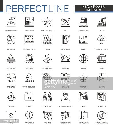 Heavy power industry thin line web icons set. Factory and renewable energy Outline stroke icons design. : Vector Art