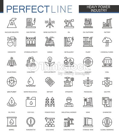 Heavy power industry thin line web icons set. Factory and renewable energy Outline stroke icons design. : arte vettoriale