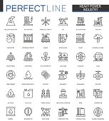 Heavy power industry thin line web icons set. Factory and renewable energy Outline stroke icons design