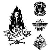 Heavy rock music vector badge vintage label with punk skull symbol hard rock-n-roll sound sticker emblem illustration. Creative recording hipster classic template.