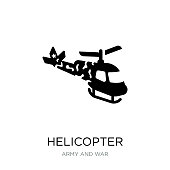 helicopter icon vector on white background, helicopter trendy filled icons from Army and war collection