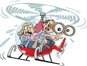 A couple of anguished parents buzz around in their private helicopter.