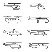 helicopters icons set. thin line design. Line with editable stroke