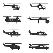 helicopters , monochrome icons set