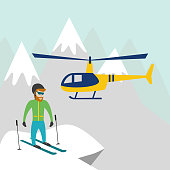 Heli-skiing. Heli-skiing flat illustration with helicopter, mountains and skier. Vector illustration.