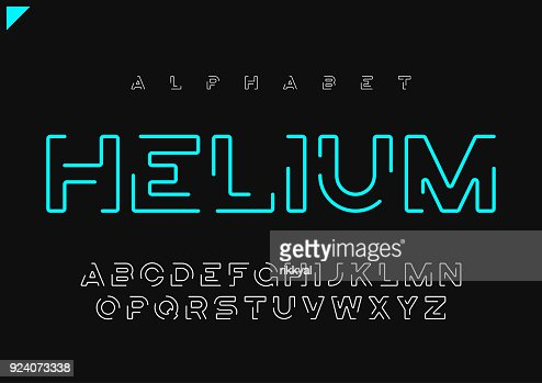 Helium vector minimalist futuristic linear alphabet, typeface, letters, font, typography : Vector Art