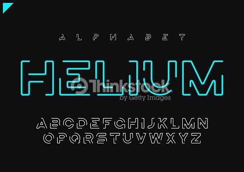 Helium vector minimalist futuristic linear alphabet, typeface, letters, font, typography : stock vector