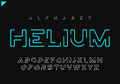 Helium vector minimalist futuristic linear alphabet, typeface, letters, font, typography Global swatches