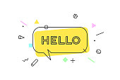 Hello. Banner, speech bubble, poster and sticker concept, geometric style with text Hello. Icon message Hello cloud talk for banner, poster, web. White background. Vector Illustration