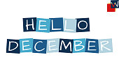 hello december, cartooned cutout text in blue colored rotated squares