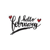 Hello February Hand Lettering Greeting Card.