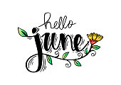 Hello June hand lettering, greeting card.