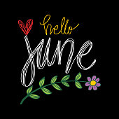 Hello June hand  lettering print poster.