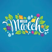Hello March, vector banner design  with images of green leaves, bright flowers