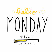 Hello Monday Friday loading word vector illustration doodle style