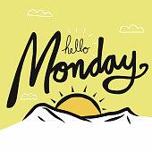 Hello Monday word on sun raise cartoon vector illustration